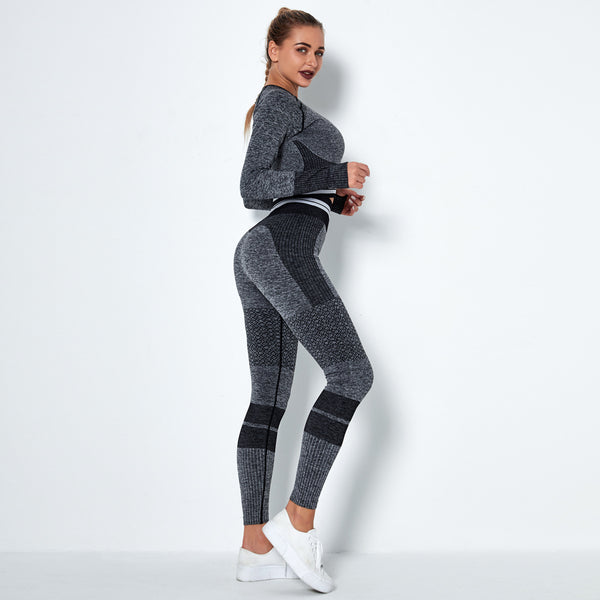 Two piece crew neck active suits