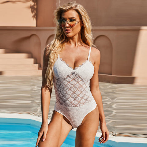 Sexy lace openwork one-piece swimwear