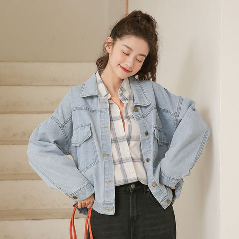 Print patchwork denim jackets with pockets