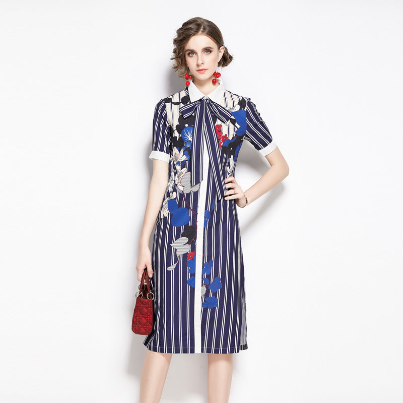 Lapel striped belted print dresses