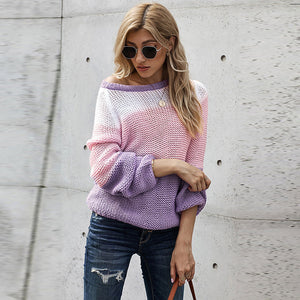 Crew neck patchwork lantern sleeve sweaters