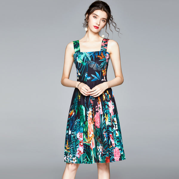 Floral pleated midi sun dresses