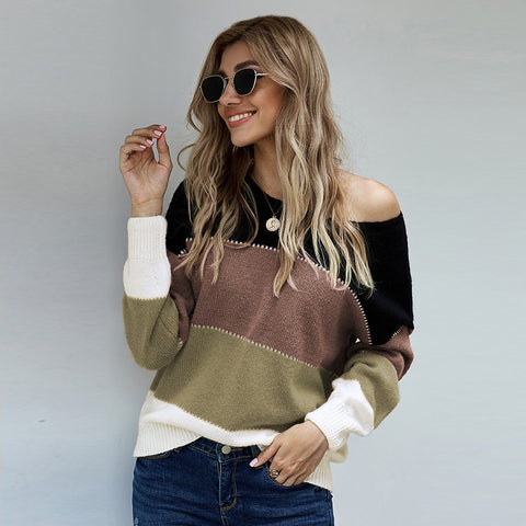 Crew neck patchwork long sleeve sweaters
