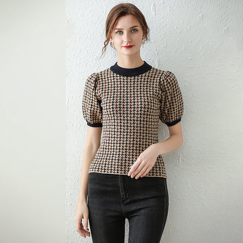 Houndstooth puff sleeve knit tops