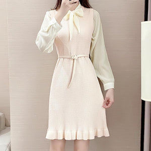 Chiffon tie-collar knitted skater skirt suits