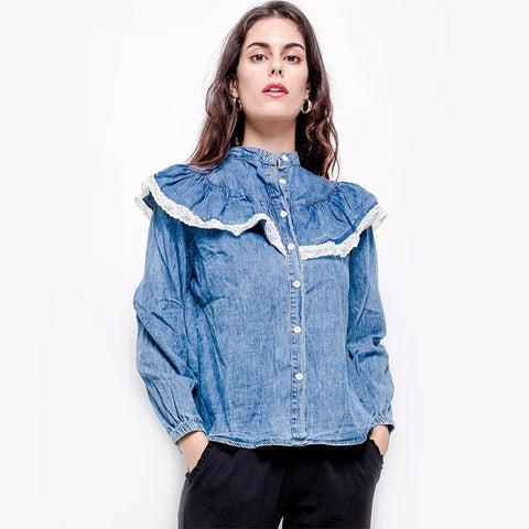 Mock neck ruffled denim blouses