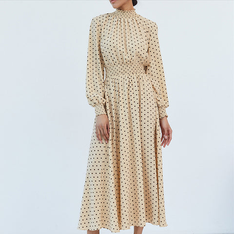 Mock neck lantern sleeve dot maxi dresses