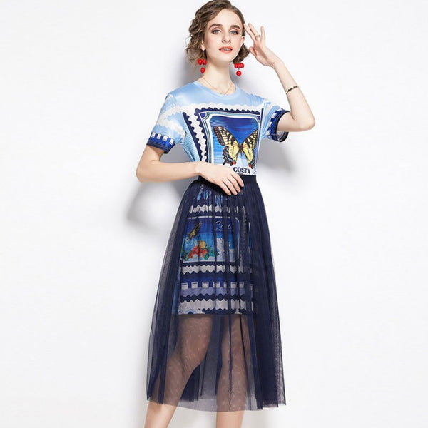 Print pullover high waisted mesh skirt suits
