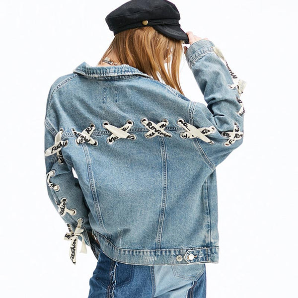 Denim lace up loose jackets - Fancyever