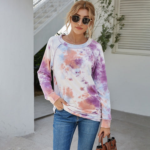 Crew neck long sleeve tie-dye sweatshirts