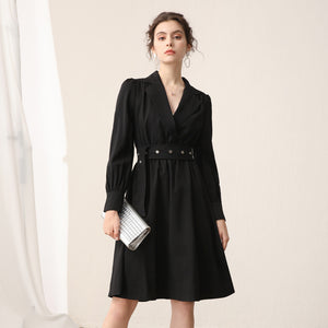Lapel ruched belted a-line dresses