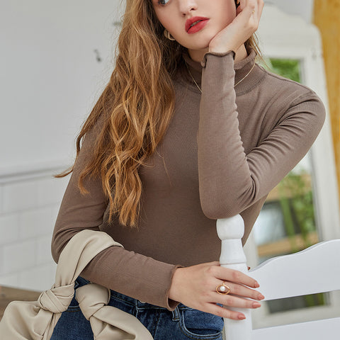 Half-collar solid soft stretchy knit tops
