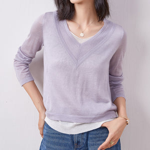 V-neck solid color knit tops