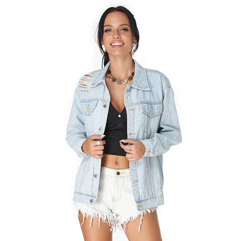 Ripped distressed long sleeve denim jackets