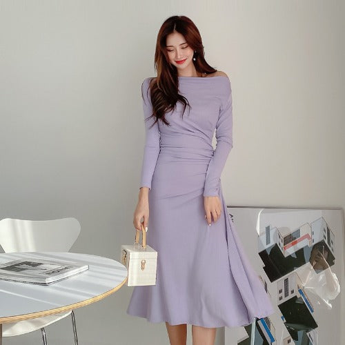 Crew neck long sleeve midi dresses