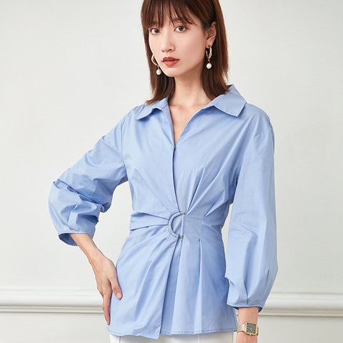 Turn-down collar ruched blouses