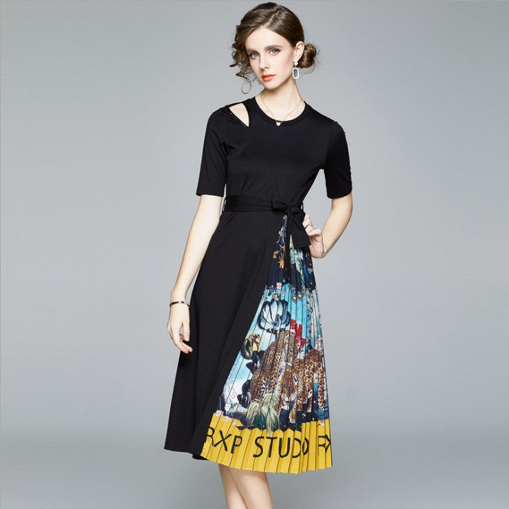 Crew neck print patchwork pleated dresses