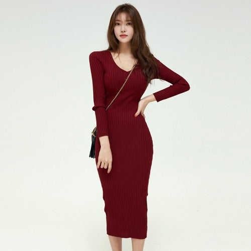 V-neck maxi sheath sweater dresses