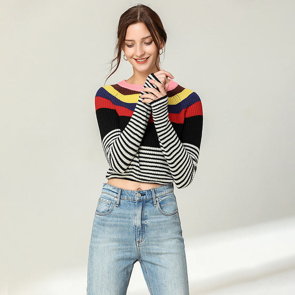 Crew neck striped knit tops