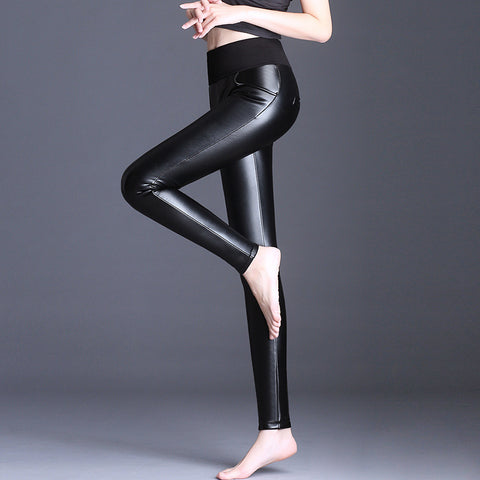Basic solid PU leather thick skinny pants