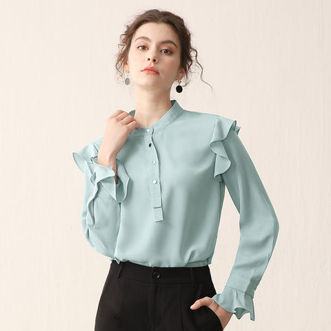 Mock neck ruffled blouses