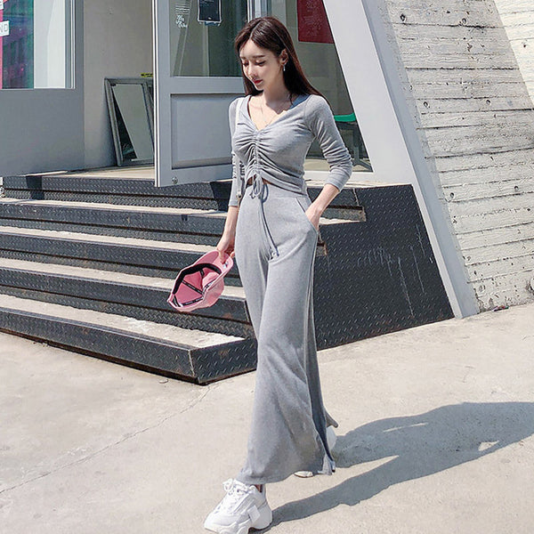 V-neck long sleeve tops & wide leg pants