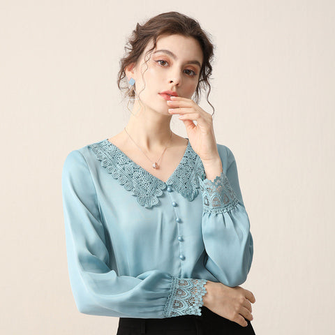 V-neck lace patchwork blouses