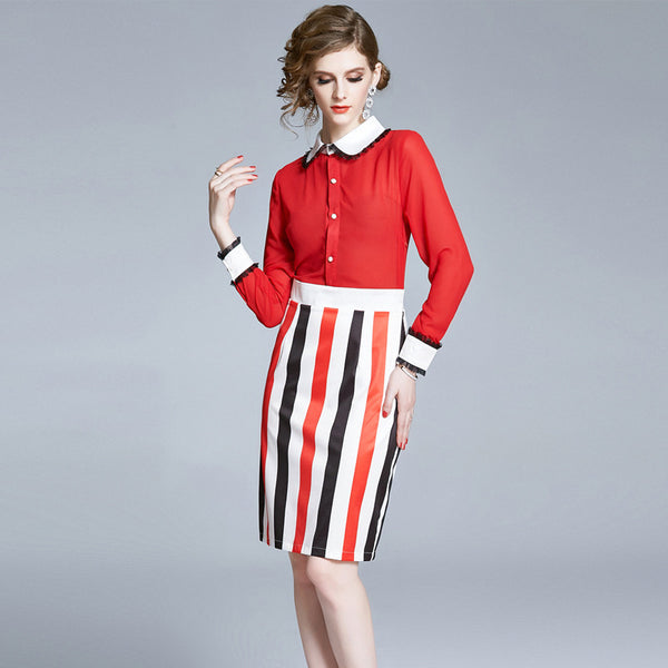 Turn-down collar striped dresses