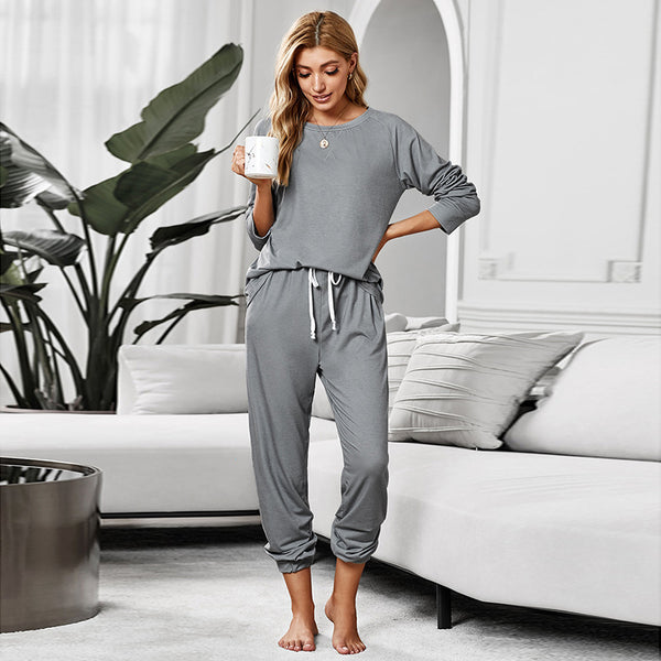 Crew neck drawstring lounge sets