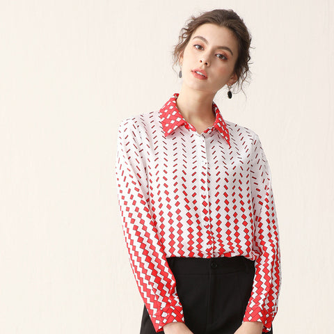 Lapel print long sleeve blouses
