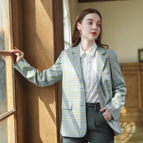 Lapel color block plaidd blazers