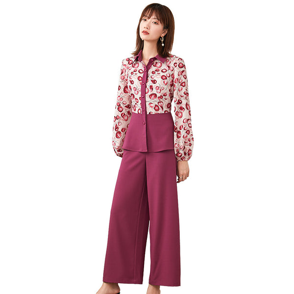 Lapel print patchwork chiffon pant suits