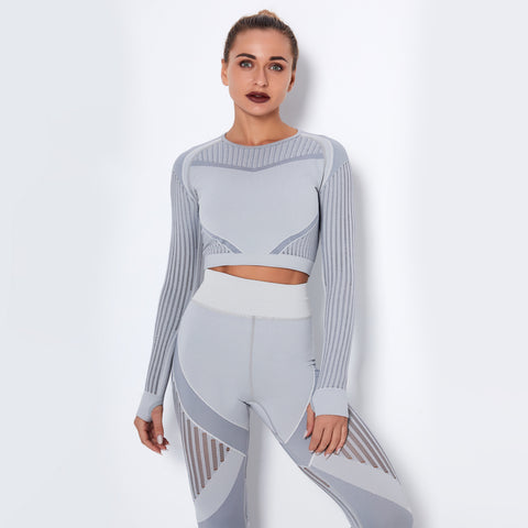 Knit active tops with thumb holes