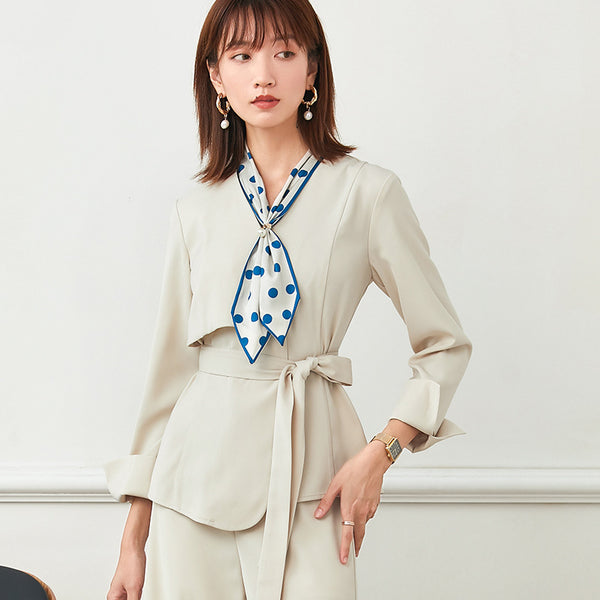 V-neck office pant suits