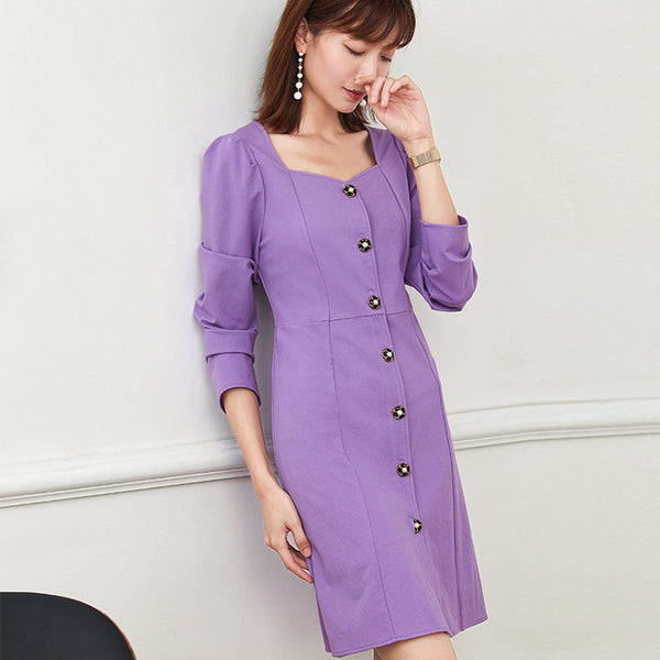 Puff sleeve dresses with buttons
