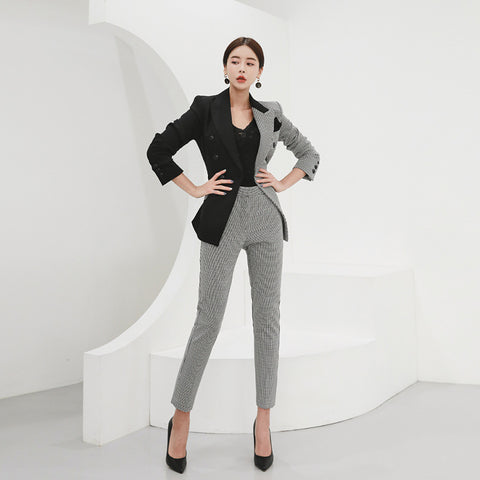 Turn-down collar patchwork pant suits