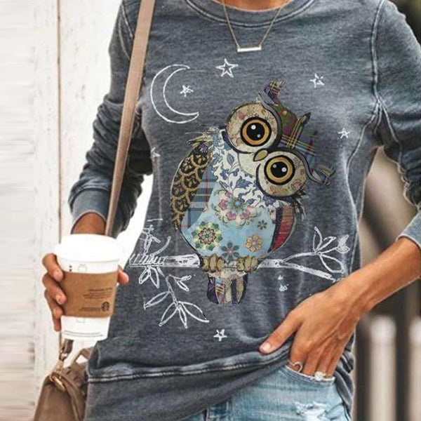 Crew neck cute printed long sleeve sweatshirts