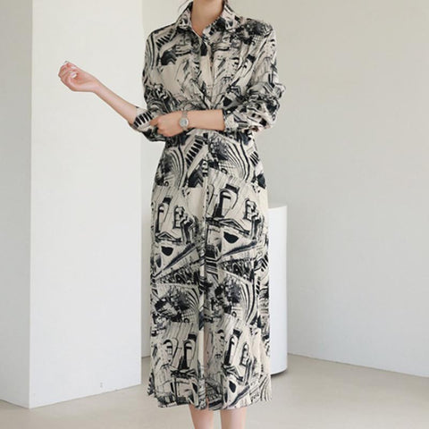 Turn down collar printed floral split shift dresses