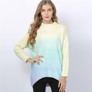 Mock neck color-blocked bat sleeve sweaters
