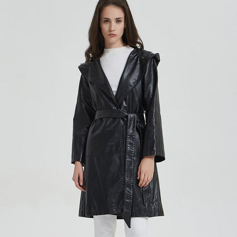 Lantern hooded belted faux leather coats - Fancyever