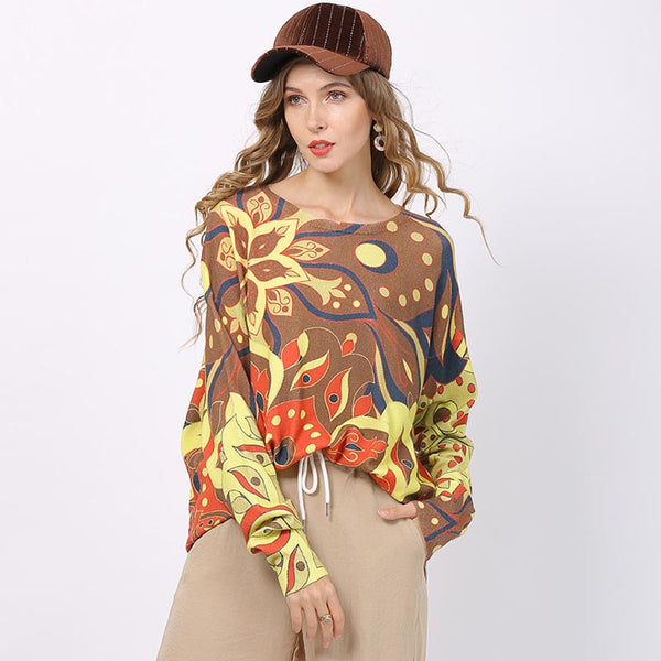 Casual print loose knitted tops