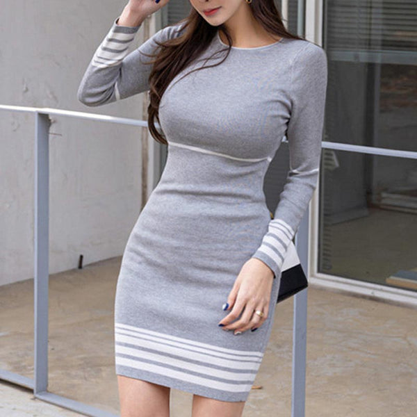 Long sleeve striped mini knitted bodycon dresses
