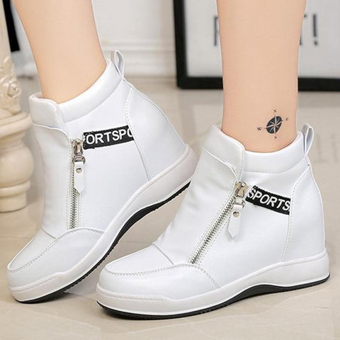 PU leather solid stylish thick ankle boots
