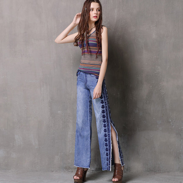Print side split jean pants