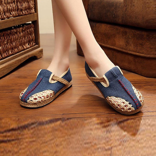 Espadrille patchwork flat cloth shoes