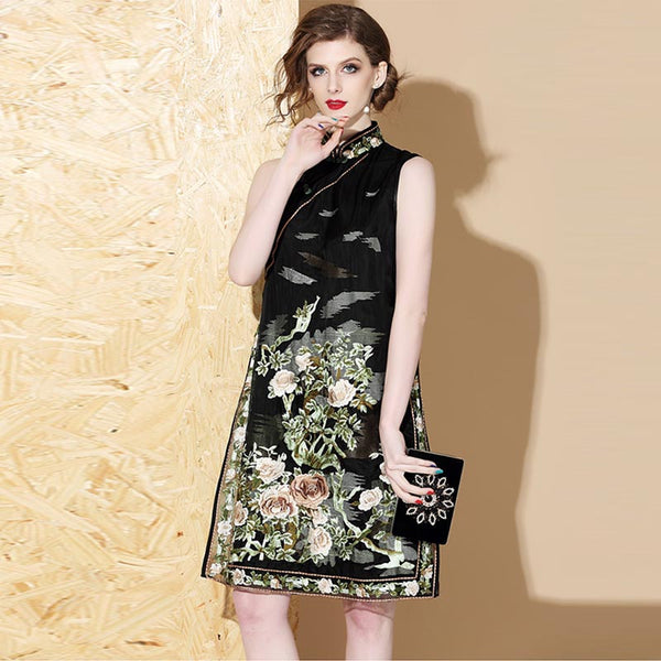 Silk print sleeveless cheongsam dresses