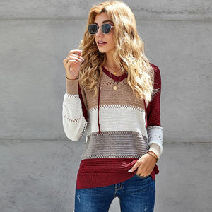 Openwork pullover color block knitted sweaters