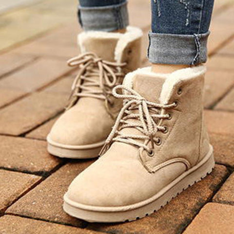 Suede solid lace-up fur snow boots
