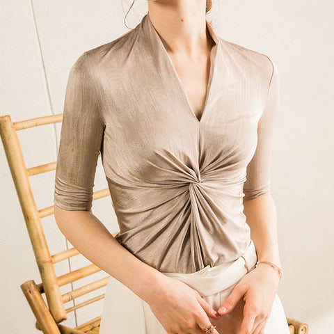 V neck solid knot front blouses