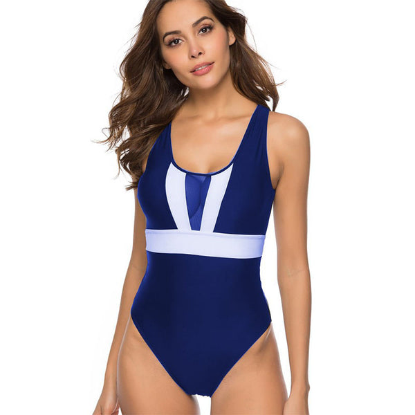 Color block perspective back tie one-piece swimwear